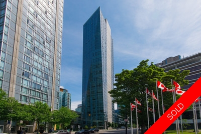 Coal Harbour Apartment for sale: West Pender Place 1 bedroom  Stainless Steel Appliances, Stainless Steel Trim, European Appliance, Glass Shower, Marble Counters, Hardwood Floors 876 sq.ft. (Listed 2017-02-22)